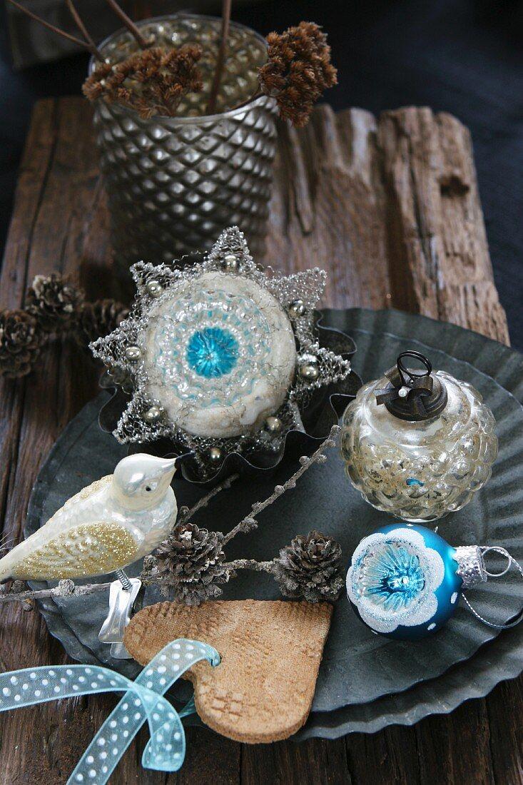 Christmas tree decorations; bird, baubles, salt dough heart
