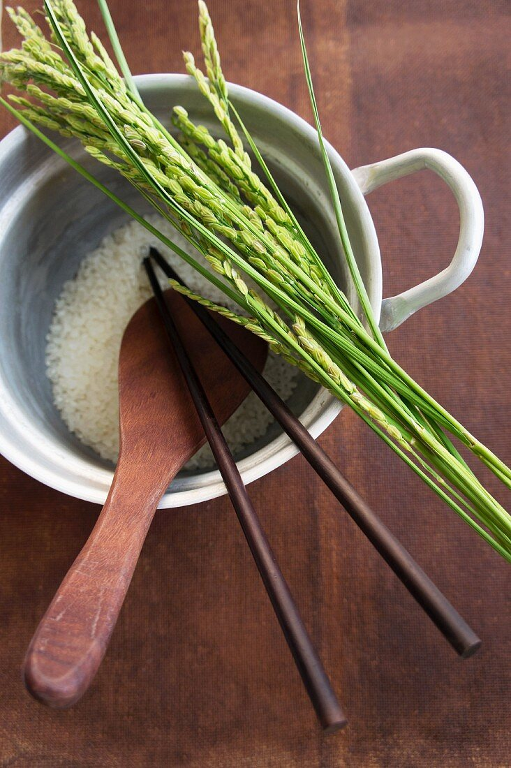 Rice and ears of rice, a wooden spoon and chopsticks in a pan of rice