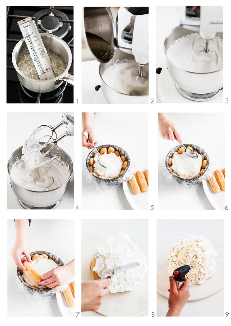 Baked Alaska (ice cream dessert coated in meringue, USA) being made