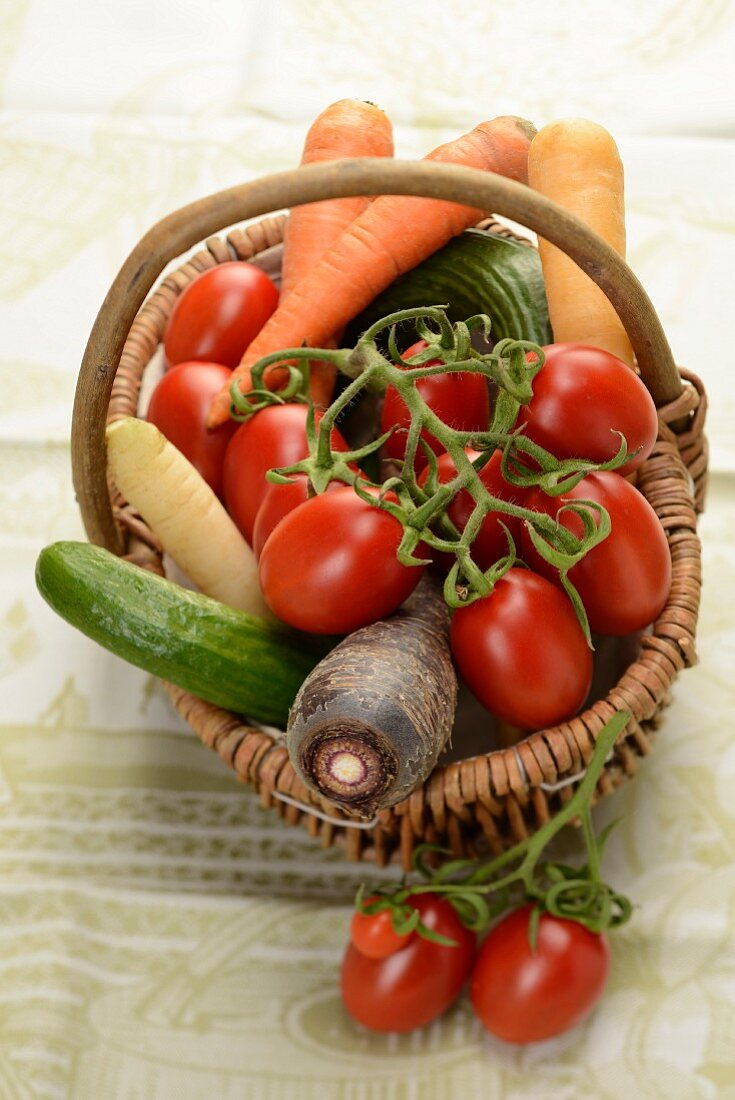 Organic vegetables in a basket