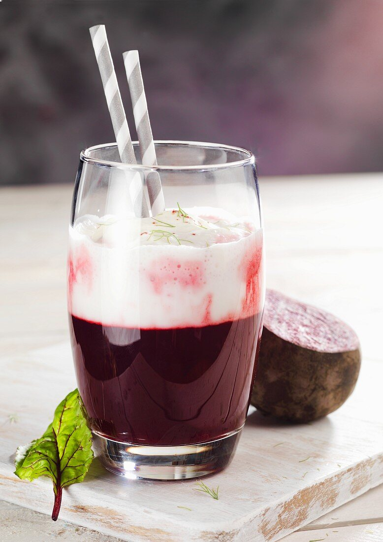 Beetroot, grape and plum juice