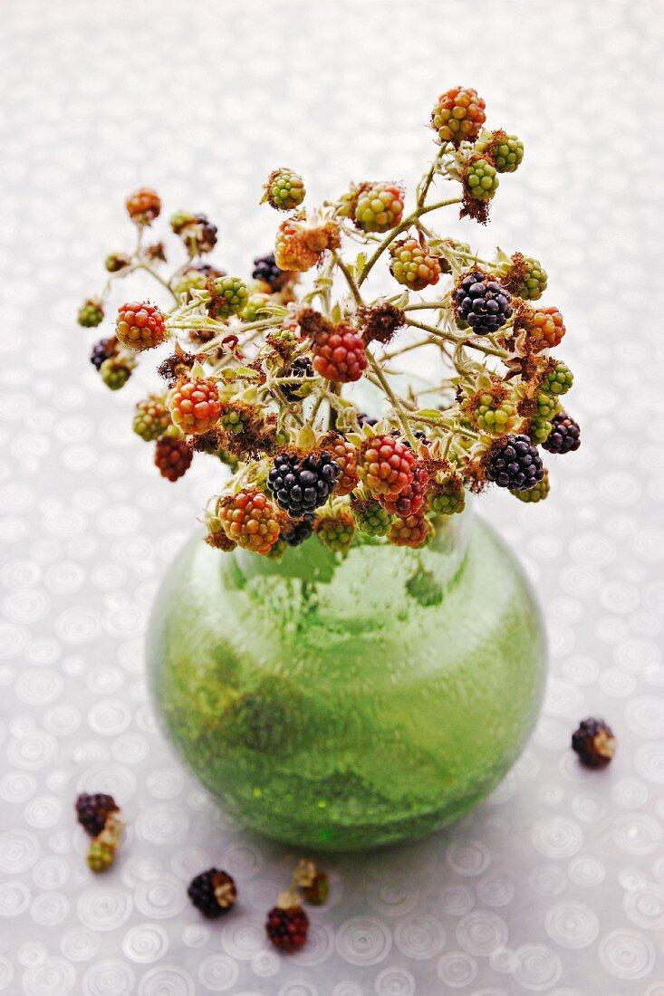 A bunch of blackberries in a vase
