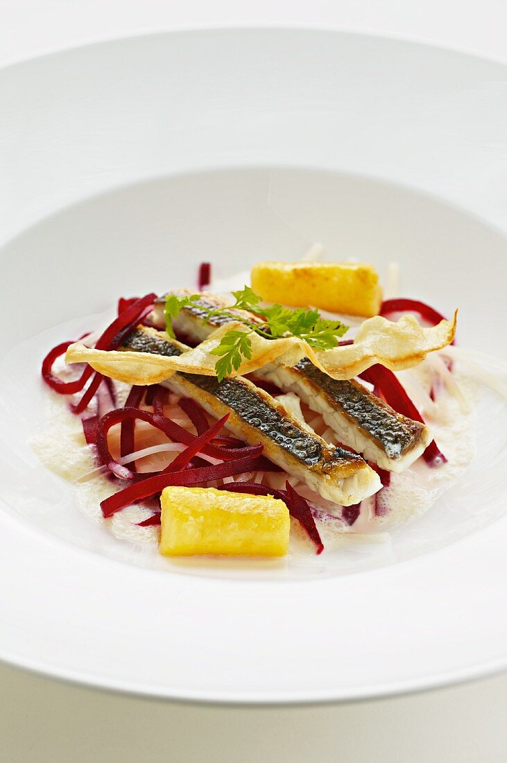 Gilt-head bream with parsley root and cooked beetroot