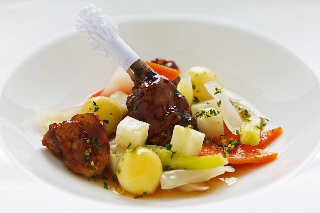 Glazed rabbit with vegetables