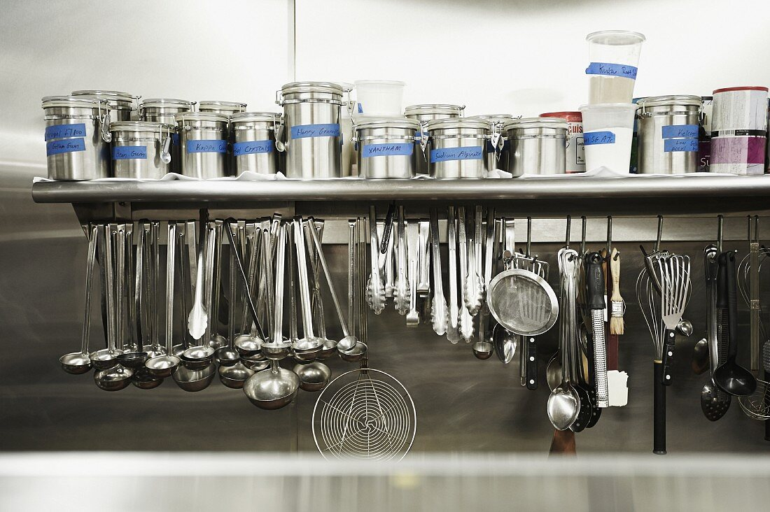 Professional Kitchen; Hanging Tools and Canisters of Seasonings
