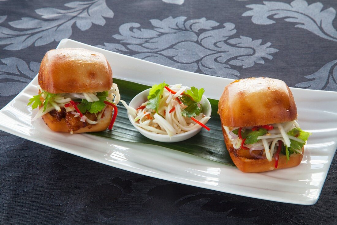 Glazed buns filled with pork (Asia)
