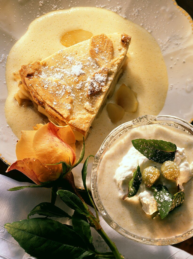 A piece of apple pie with custard & gooseberry mousse