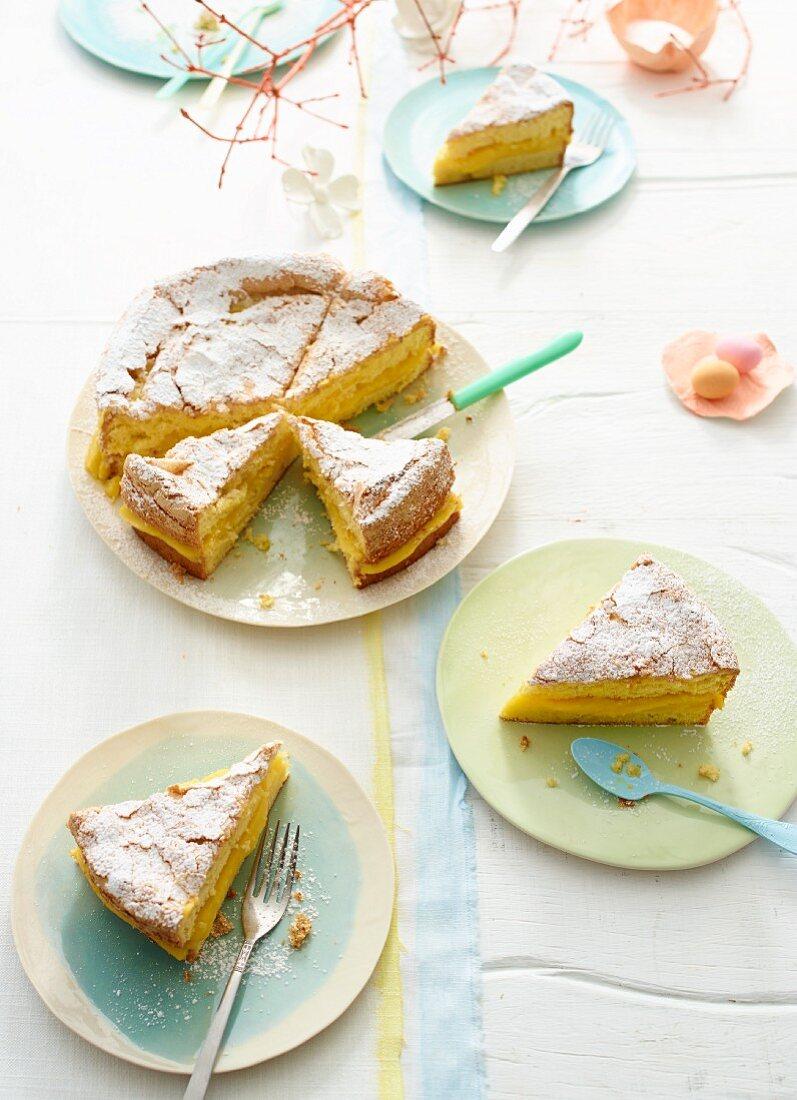 Lemon and passion fruit cake