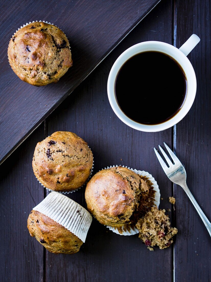 Whole grain spelt muffins with chocolate, cranberries and nuts.