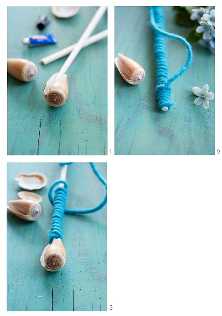 Craft idea with rod, felt ribbon and seashells
