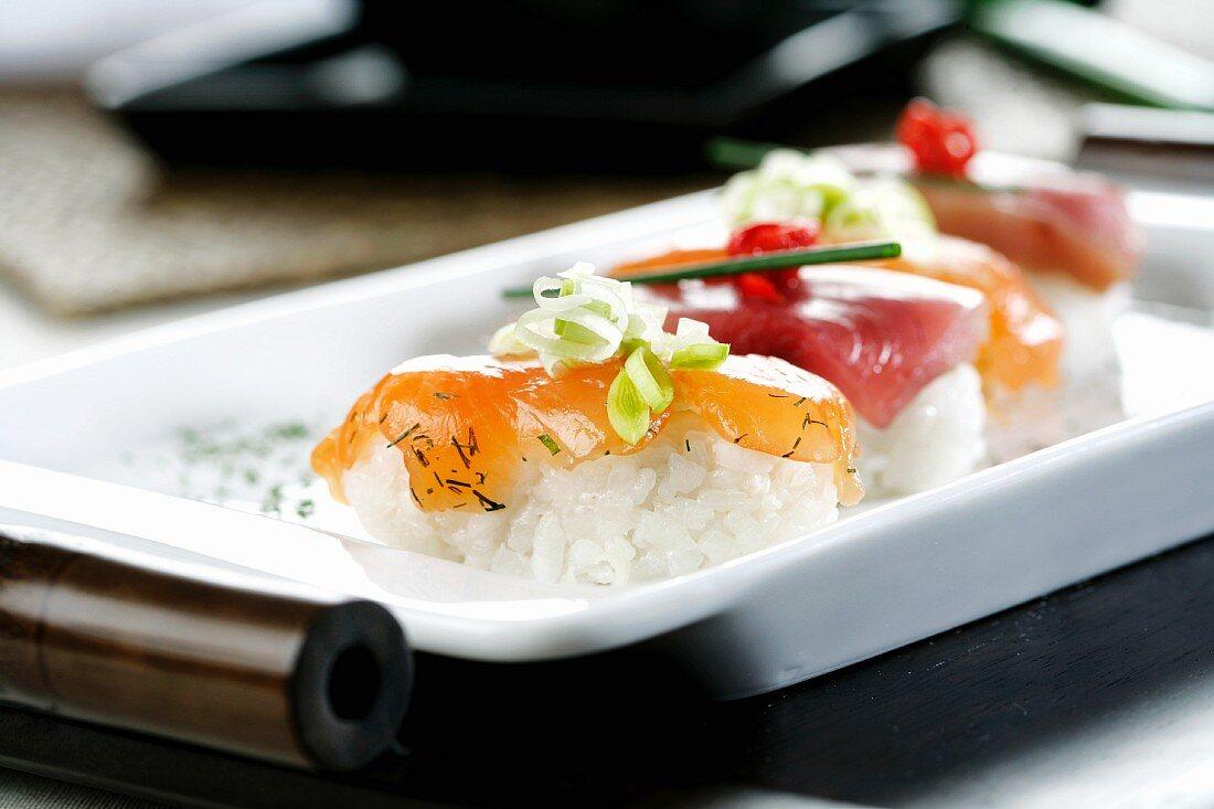 Marinated salmon sushi and tuna