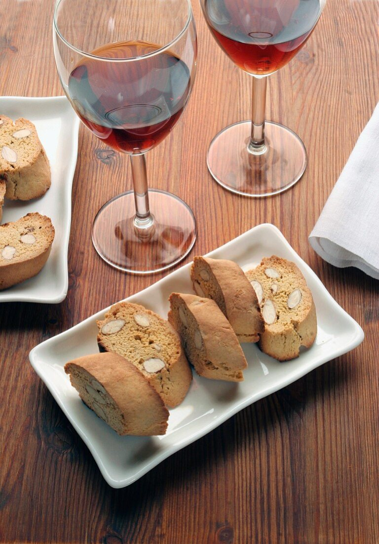 Tozzetti biscuits made of spelt with holy wine, Italy