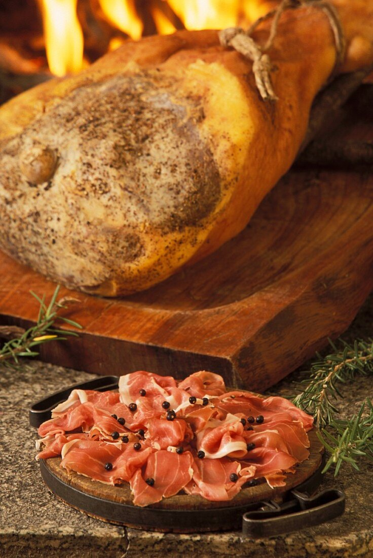 Jambon de Bosses typical ham, Valpelline, Valle d Aosta, Italy