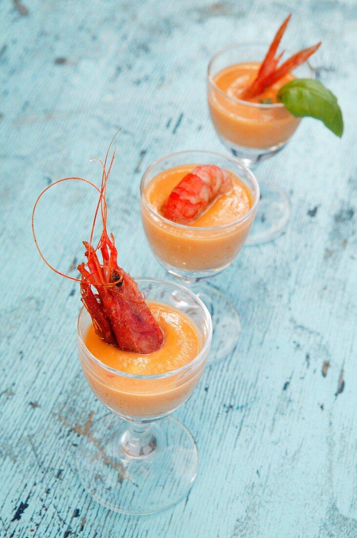 Chickpeas and basil cream with crayfishes, Orestorante restaurant, Ponza island, Lazio, Italy