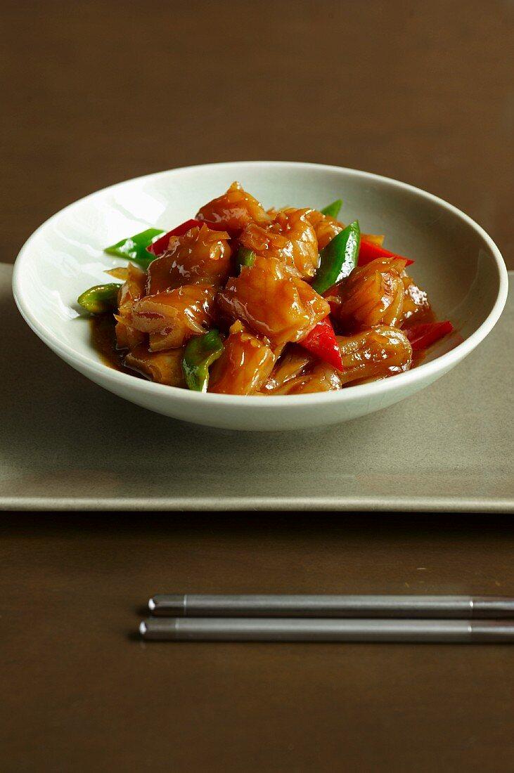 Vegetarian squid with XO sauce