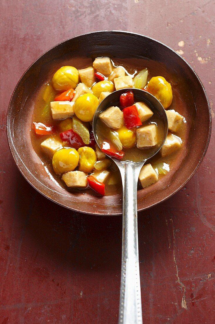 Chestnuts with vegetarian chicken