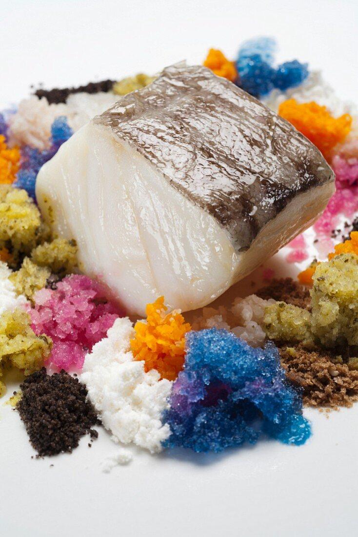 Cod fillet steamed with vegetables, Matias Perdomo chef, Ristorante Al Pont de Ferr restaurant, Milan, Lombardy, Italy, Europe