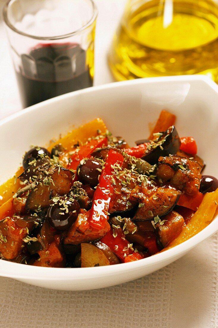 Caponata, Typical Sicilian dish, Sicily, Italy