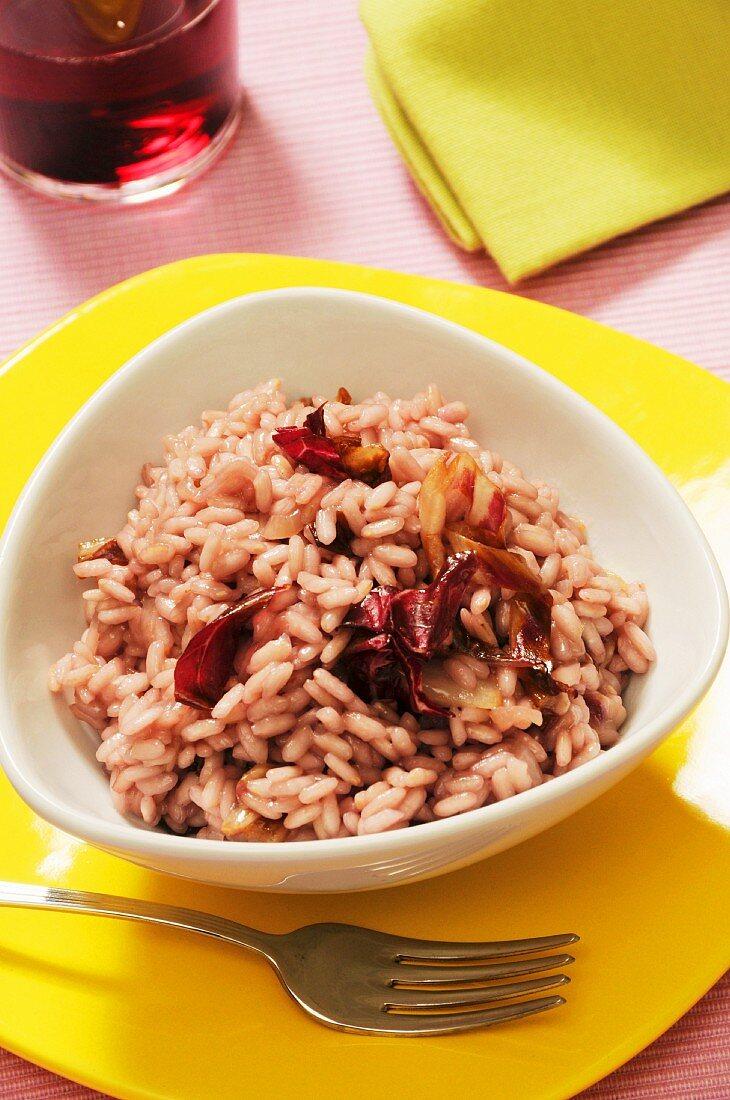 Risotto al radicchio rosso, rice with red chicory, Veneto, Italy, Europe