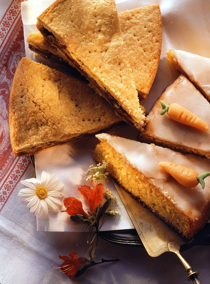 Three pieces of Engadiner nut cake & three pieces of carrot cake