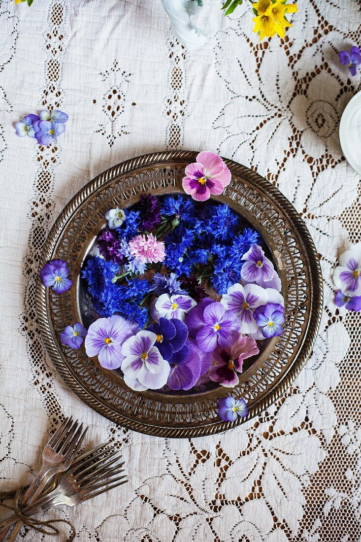 A Platter of Edible Flowers; Cornflower, Violas and Pansies