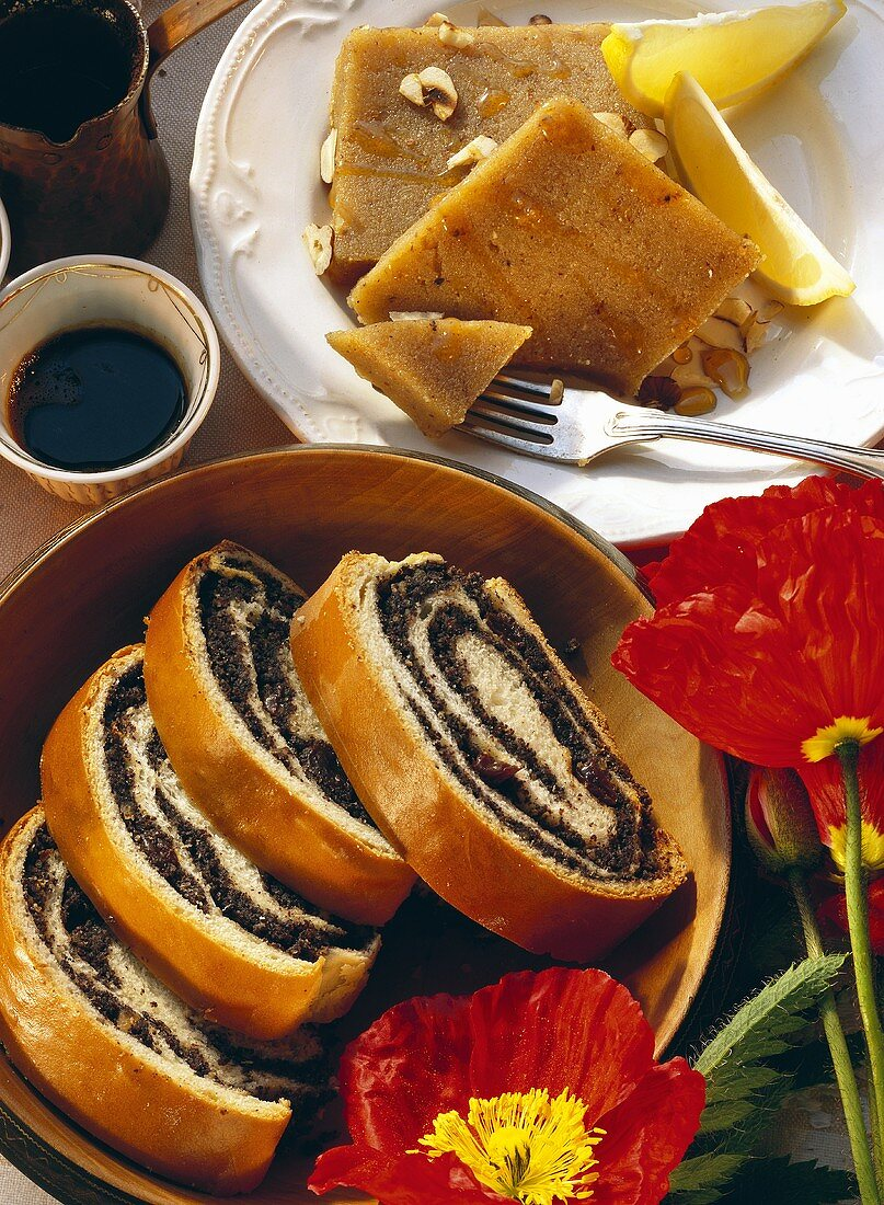 Two slices of halva (semolina slices) & poppy seed strudel