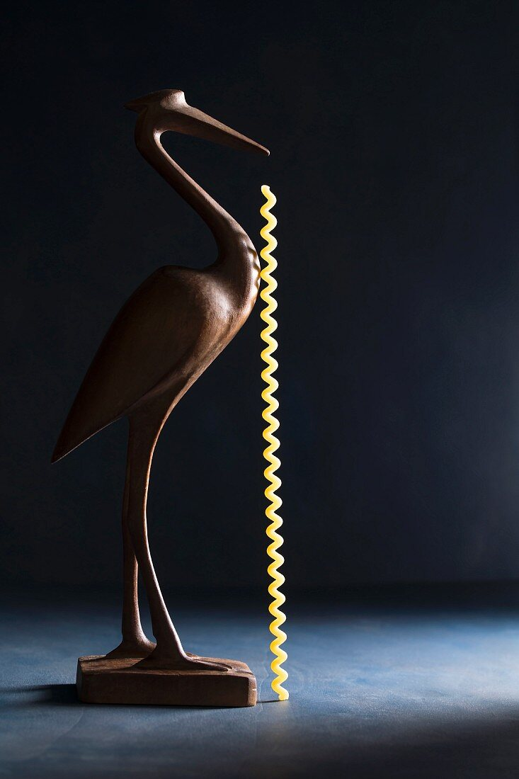 A wooden bird with a piece of uncooked fusilli lunghi pasta