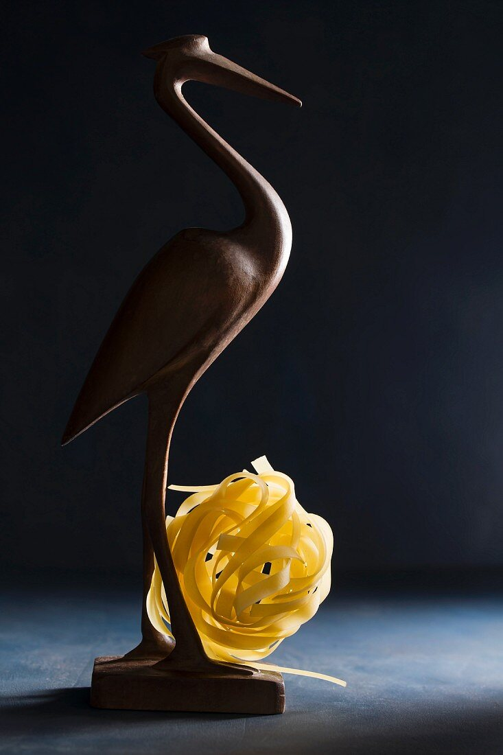 A wooden bird with uncooked tagliatelle