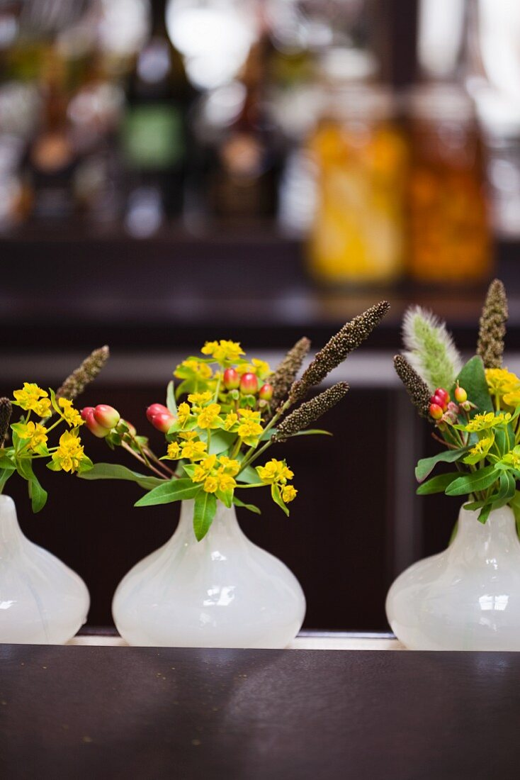 Small Flower Arrangements for Tables at a Restaurant
