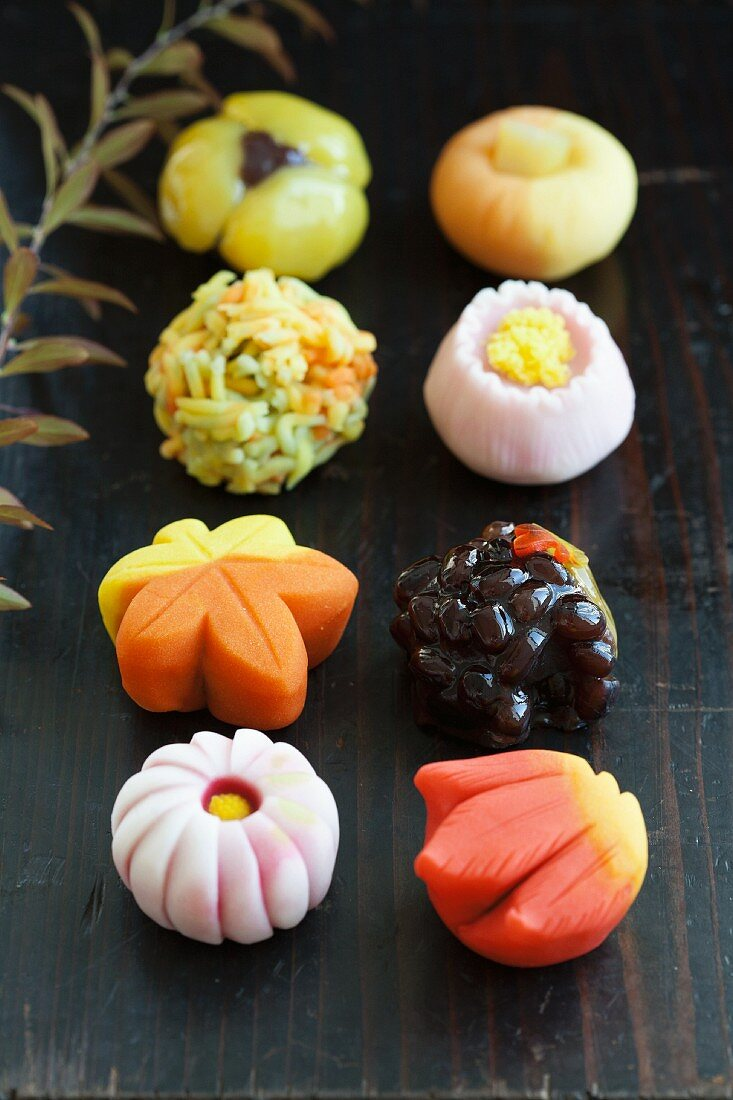 Various wagashi (Japanese sweets)