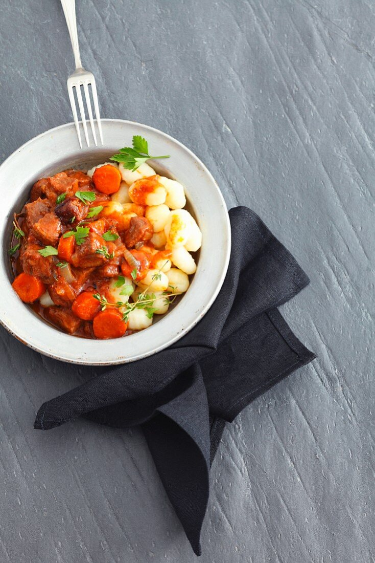 Gnocchi with beef braised in ale and carrots