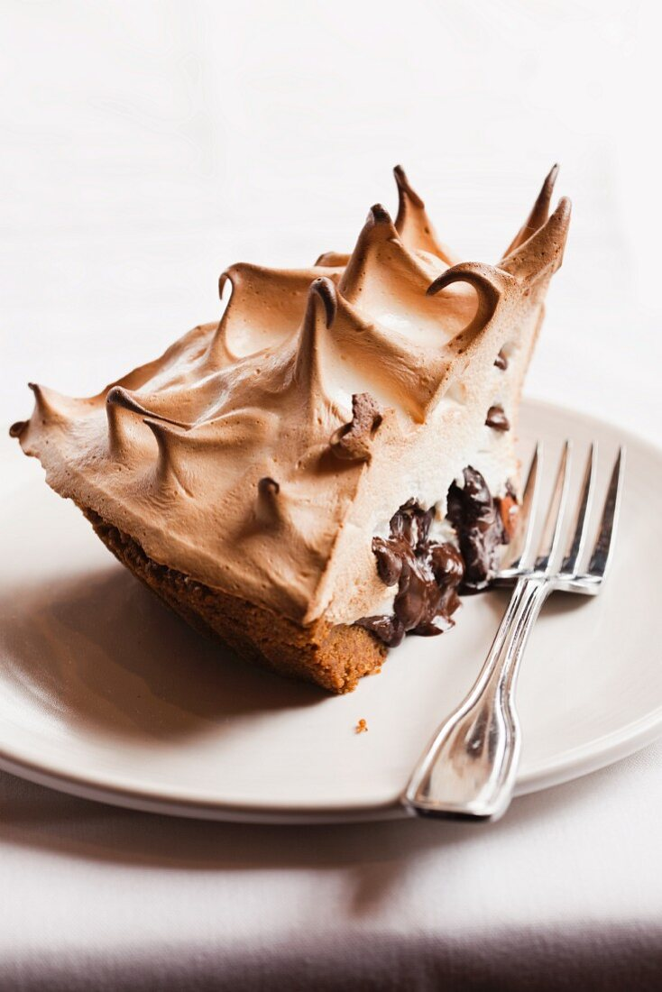 A Slice of S'more Pie on a White Plate