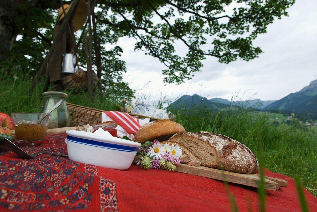 A picnic against a magnificent mountain landscape