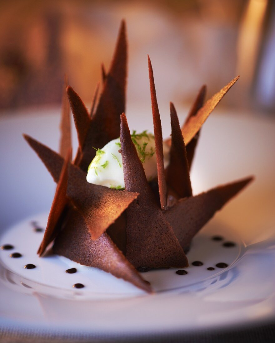 Lime ice cream in a chocolate shell