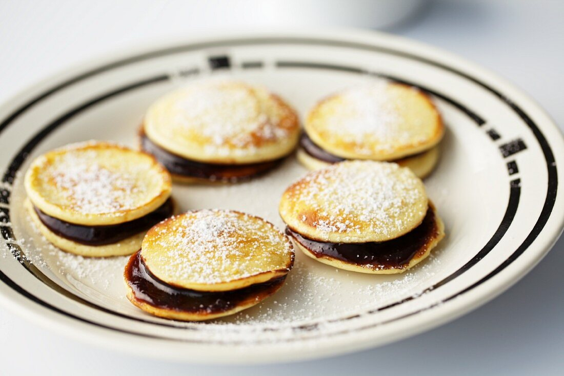 Cream pancakes filled with stewed plums (Czech Republic)