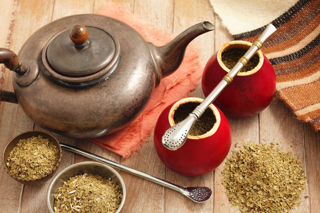 Yerba mate tea in hollowed-out squash