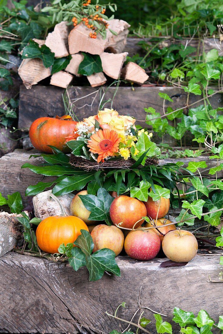 Apples, pumpkins and firewood on garden steps