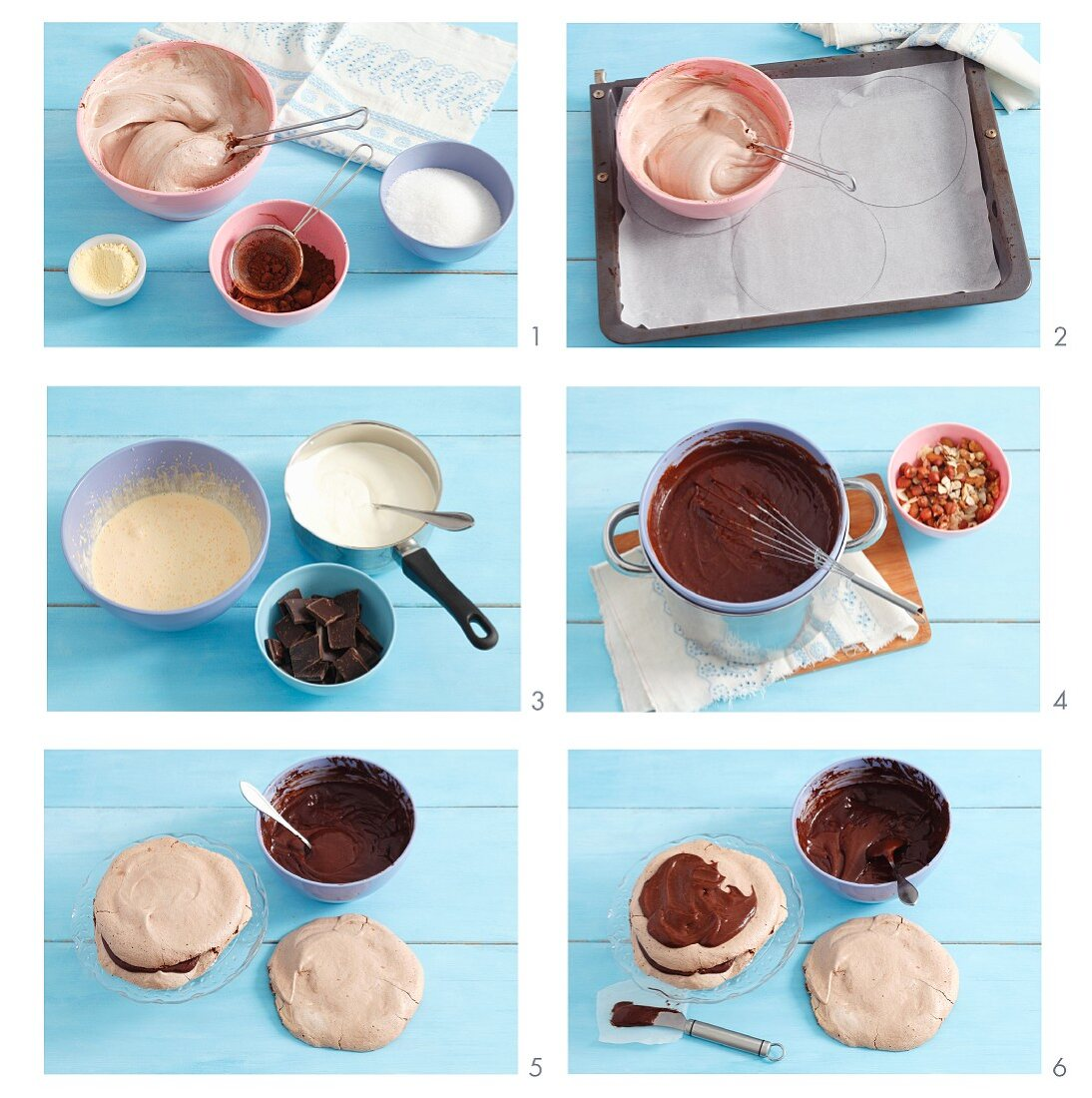 Making chocolate meringue layer cake with chocolate filling