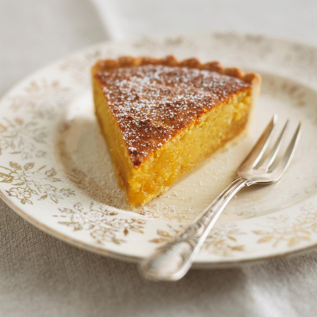 A piece of almond-syrup tart