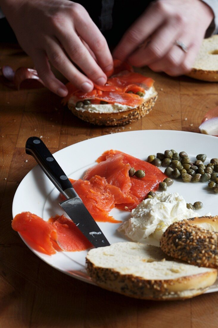 A Everything Bagel with Smoked Salmon, Cream Cheese and Capers