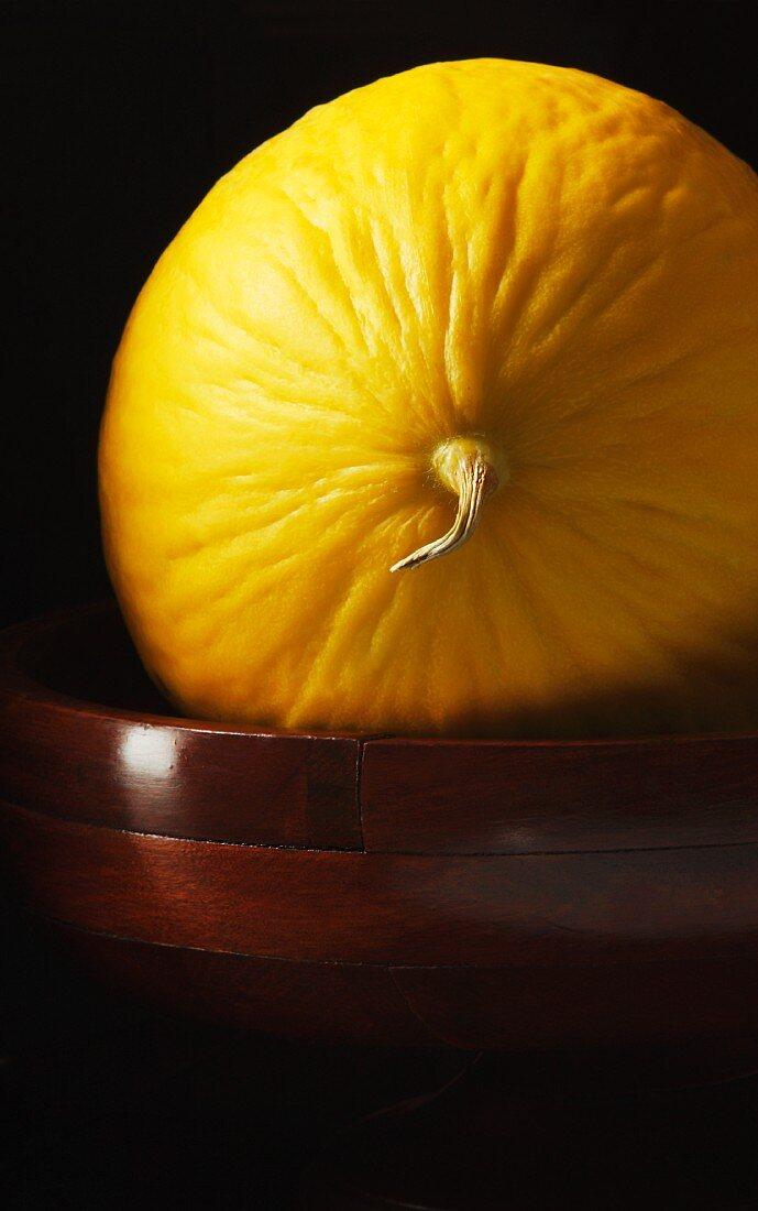 Whole canary melon on dark wood pedestal