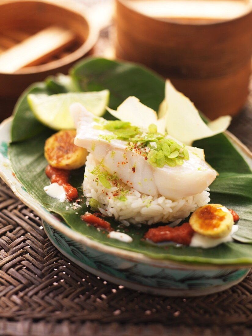 Rose fish in a tomato and banana sauce with jasmine rice