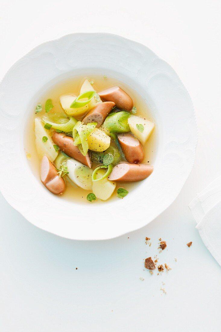 Potato and leek soup with sausage bites