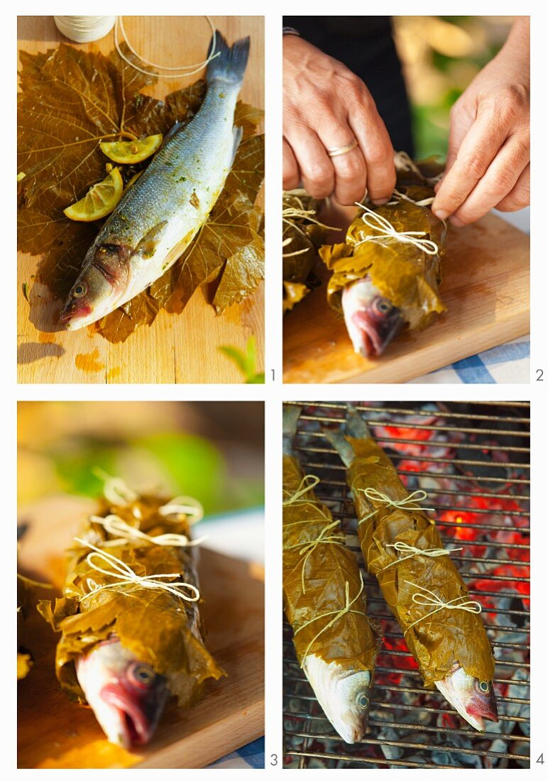 Trout being barbecued in vine leaves