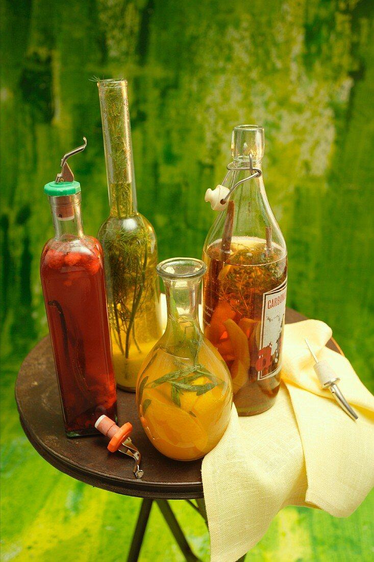 Flavoured vinegar and vegetables pickled in vinegar