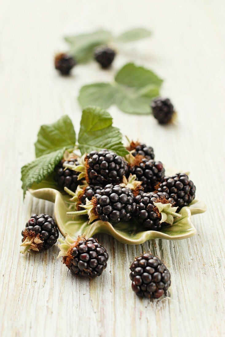 Fresh blackberries with leaves in a bowl and to one side