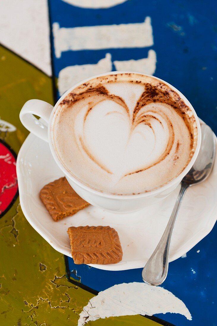Cappuccino with a milk foam heart