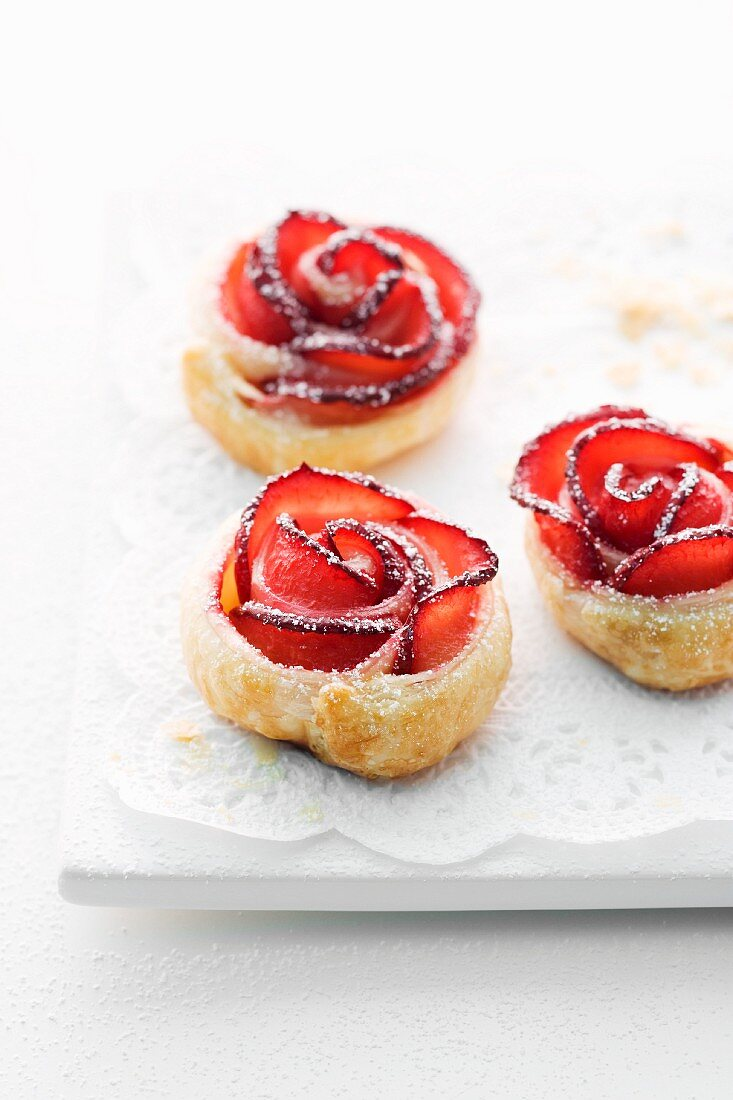Rose-shaped pastries