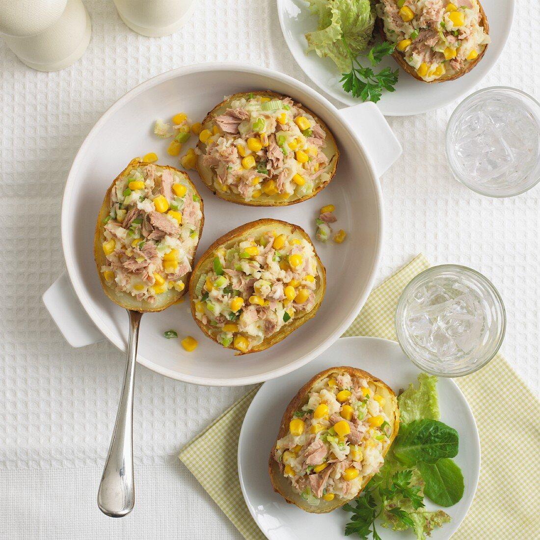 Jacket potatoes with tuna and sweetcorn