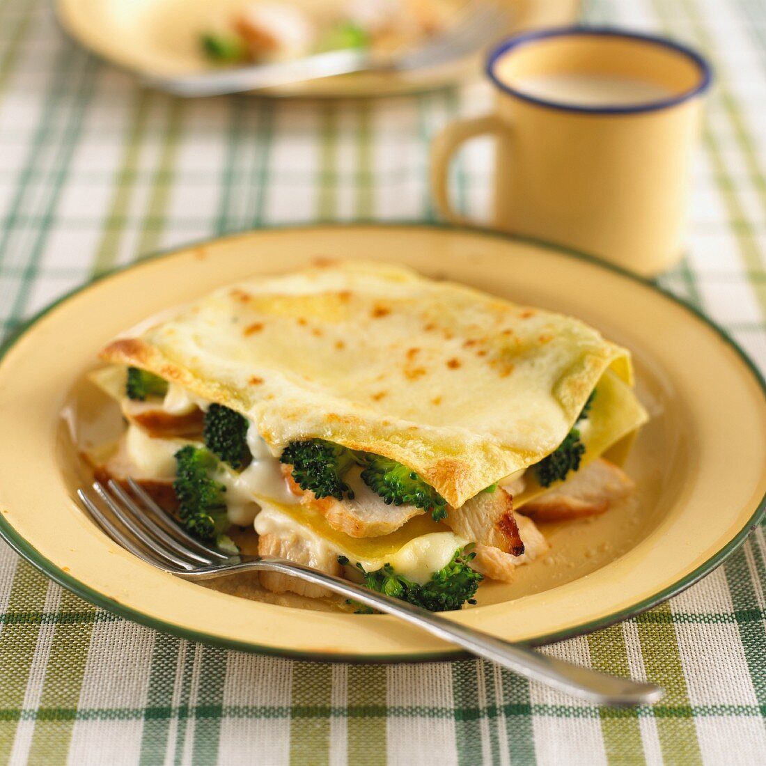 Lasagne made with chicken and broccoli